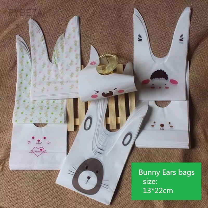 50pcs- 13*22cm DIY Bakery Packaging Bags Bunny Ears Cookie Candy Favor Gift Bag