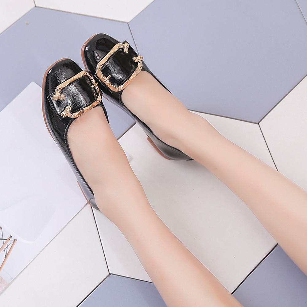 Designer Dress Shoes Hot Sale Women Shallow Square Buckle Slip On Low Heel Square Toe Single For Dropshipping