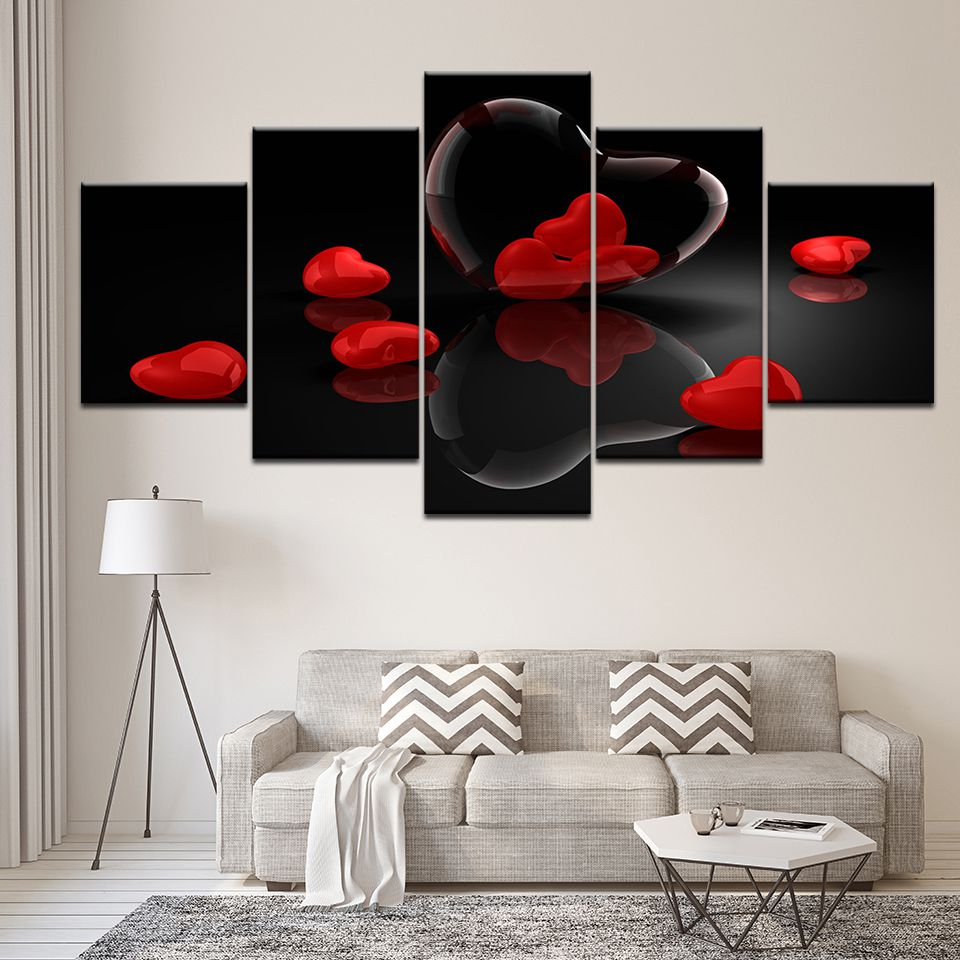 Canvas Paintings Modular Living Room Wall Art Red Heart-Shaped Pictures HD Prints Love Poster Romantic Home Decor Frame