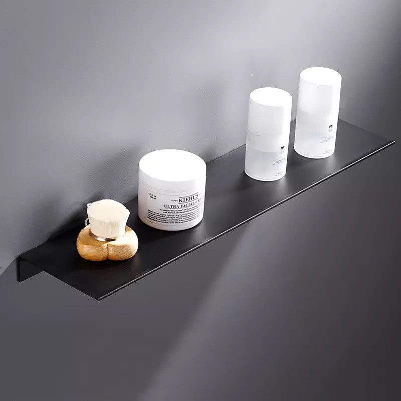 LIUYUE Bathroom Shelves Black Aluminum Wall-Mounted Square Shampoo Shelf Cosmetic Shelves Storage Rack Bathroom Accessories