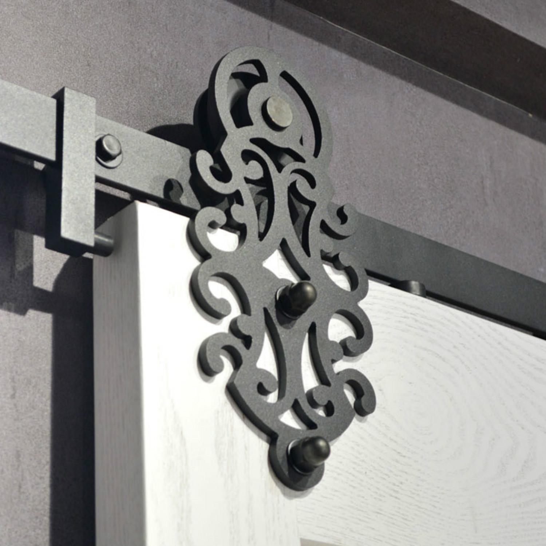 Coulisse Porte De Grange motif royal grange coulissante en acier noir matériel porte simple porte de  placard double porte intérieure de roulement piste set kit