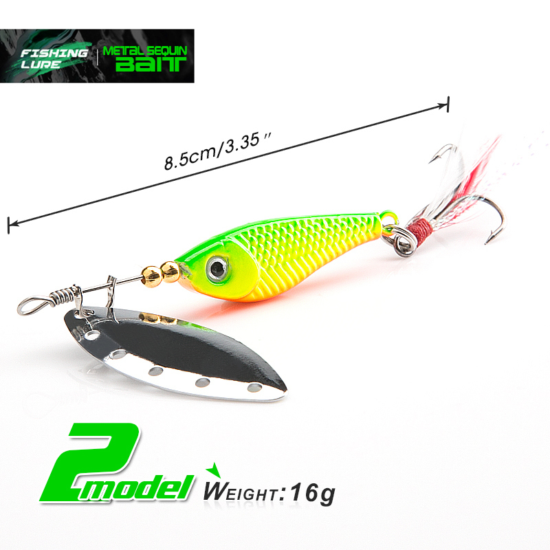 DONQL Spinner Metal Spoon Fishing Lure 13g 16g Sequin Artificial Wobbler Fishing Bait With Strong Treble Hooks Mepps Lures (5)