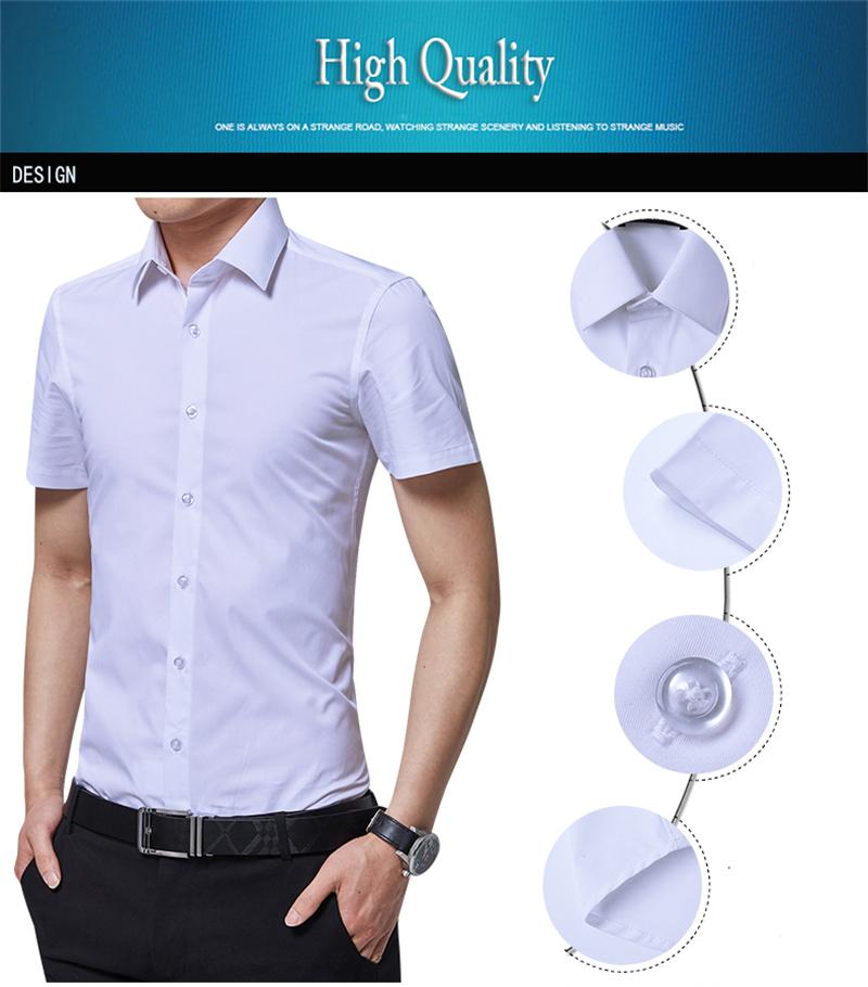 BROWON Brand New Formal Shirt Men Short Sleeve Shirt Turn Down Color Slim Fit Casual Shirt Plus Size M-5XL Camisa Masculina04