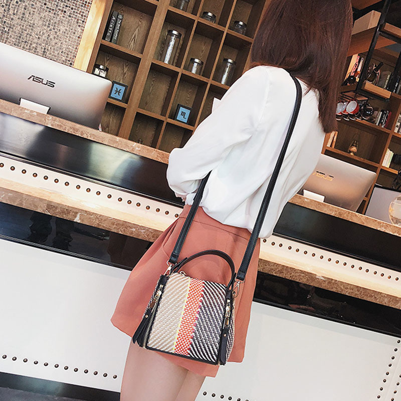 Hot Women Panelled Handbag INS Popular Female Casual Summer Straw Bags Lady Beach Shoulder Bag Fashion Travel Woven Tote SS7221 (13)