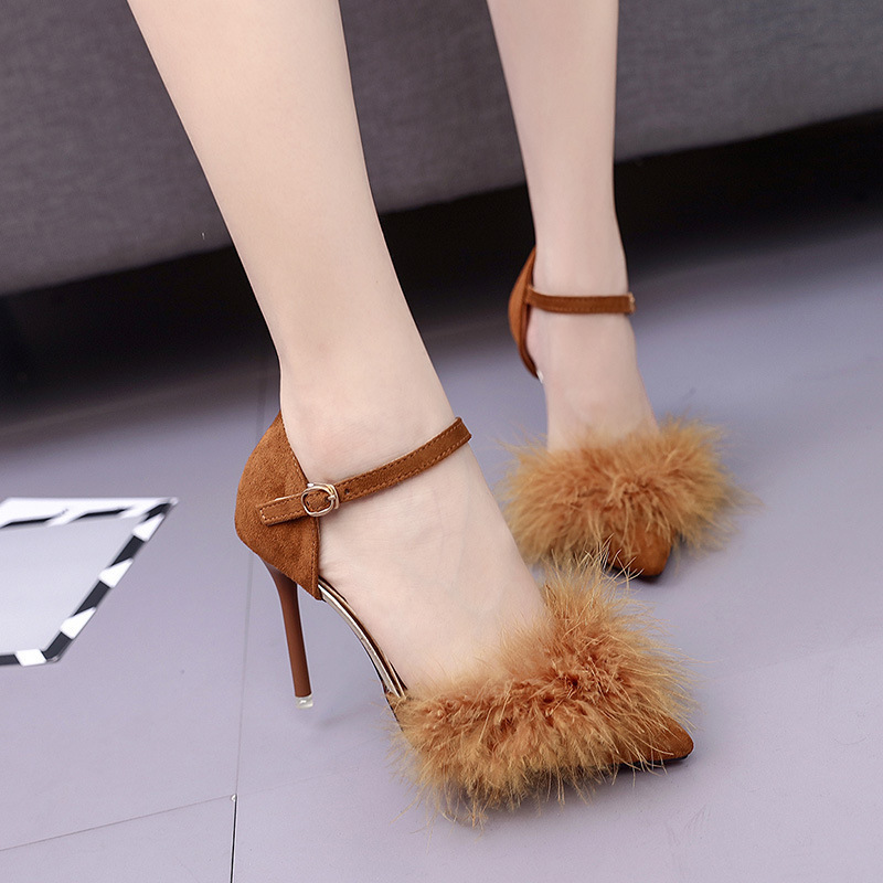 Dress Shoes 2019 New Women Pumps Fine With Spring Summer Fashio High Heels With Pointed Fine Heels And Wool