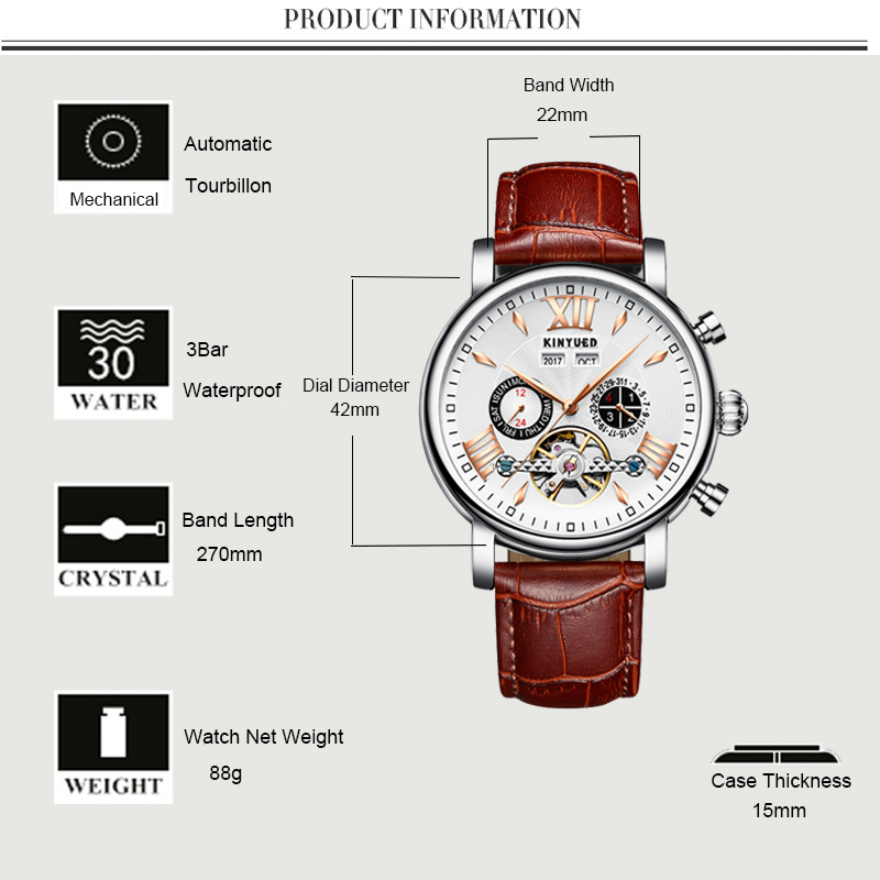 Precise Mechanical Automatic Mens Watch Flying Tourbillon Leather Waterpoof Business Watches Office Party Sport Daily Life Gift (1)