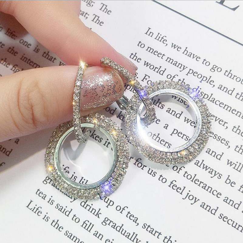 2019 NUOVO 925 argento ago strass cerchio di cristallo da Swarovski orecchini lunghi temperamento coreano personalità orecchini selvatici