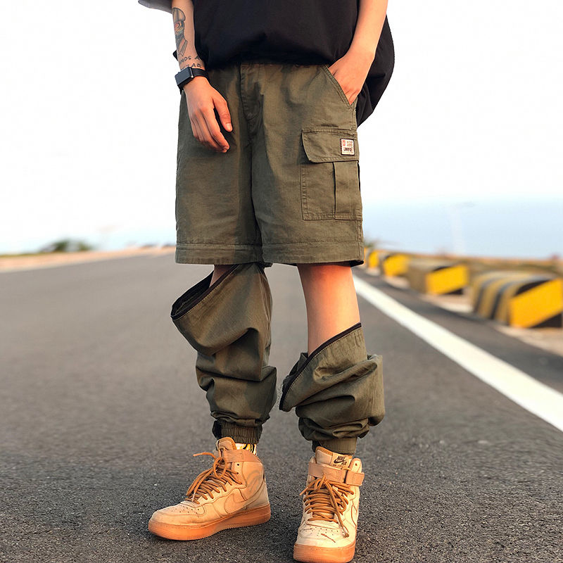 2019 new Men Pants Casual Mens hip hop rap Male Trousers street Korean Straight Full overall breathing loose ankle banded Pant