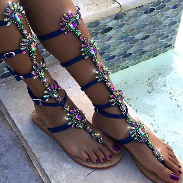 COSIDRAM-Nuevo-2018-verano-moda-mujer-Sandalias-pie-Bohemia-Rhinestones-flores-zapatos-playa-Sandalias-Mujer-Zapatos