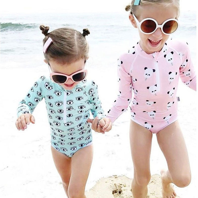 Upf 50+ Kids Swimwear Summer Baby Girls Bikini Suit Panda Eyes Long Sleeve Swimsuit Boys Bathing One-piece Swimming Clothes New Y19061201