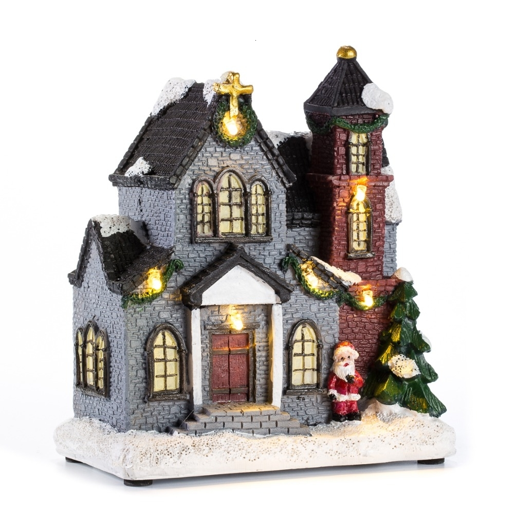 Innodept12 6resin Christmas Scene Village Houses Town With Warm White Led Light Holiday Gifts Christmas Decoration For Home Y191104 Best Christmas