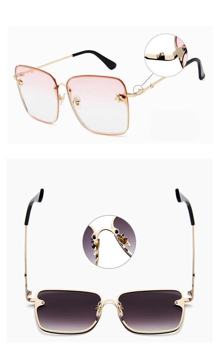 ASOUZ 2019 new box ladies sunglasses UV400 metal large frame small bee sunglasses classic brand design sports driving sunglasses (7)