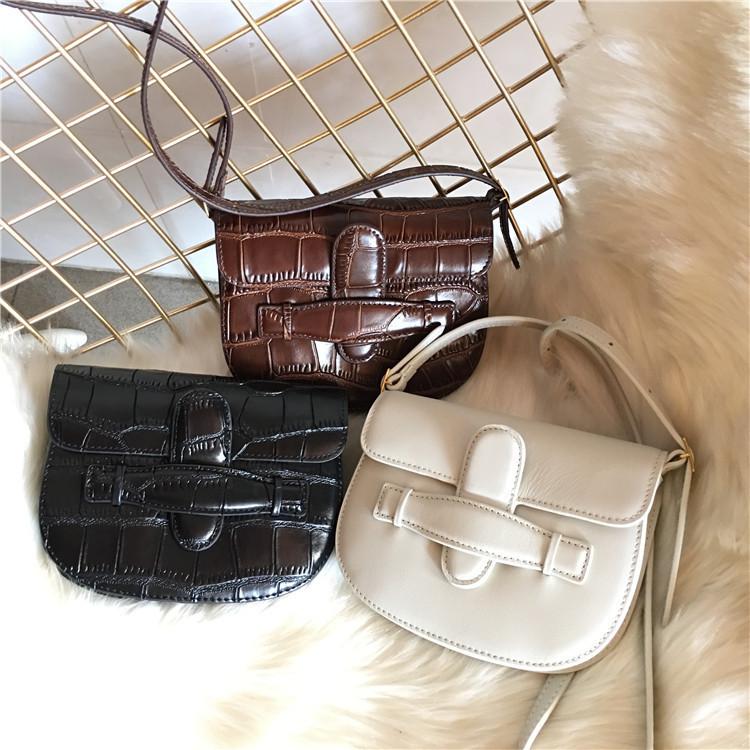 Elegant2019 Saddle Mini Small Bag Genuine Leather Crocodile Grain Woman Single Shoulder Plain Weave Leisure Time Package