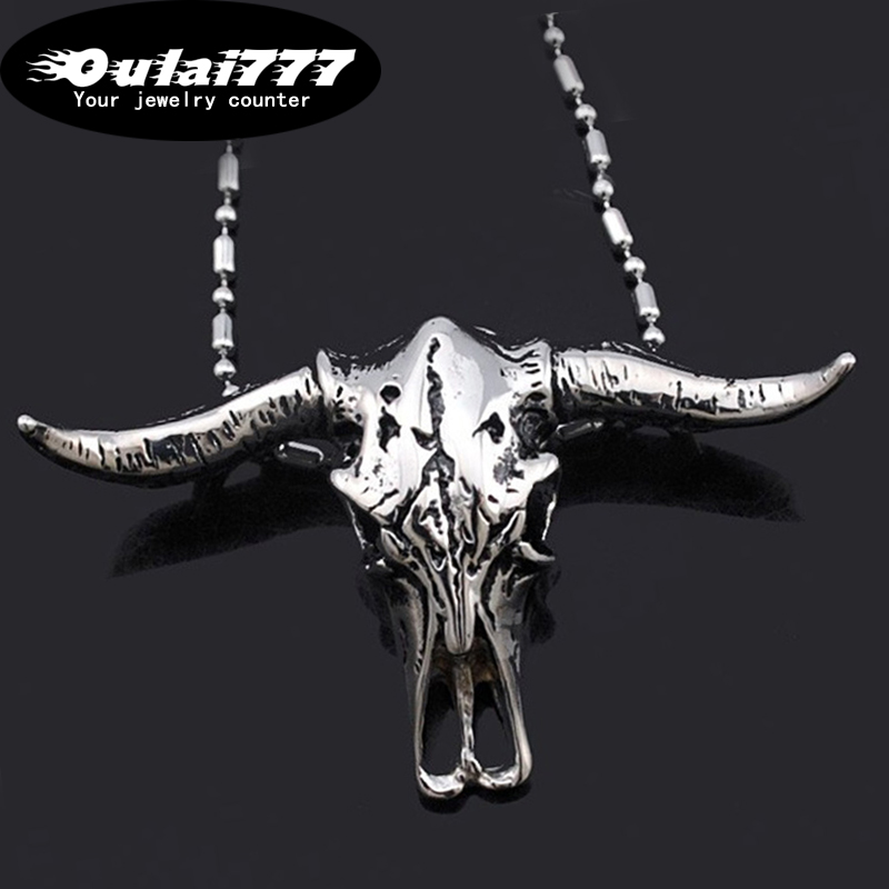 Astrology Jewelry Sterling Silver Open Work Texas Longhorn Bull Pendant Necklace