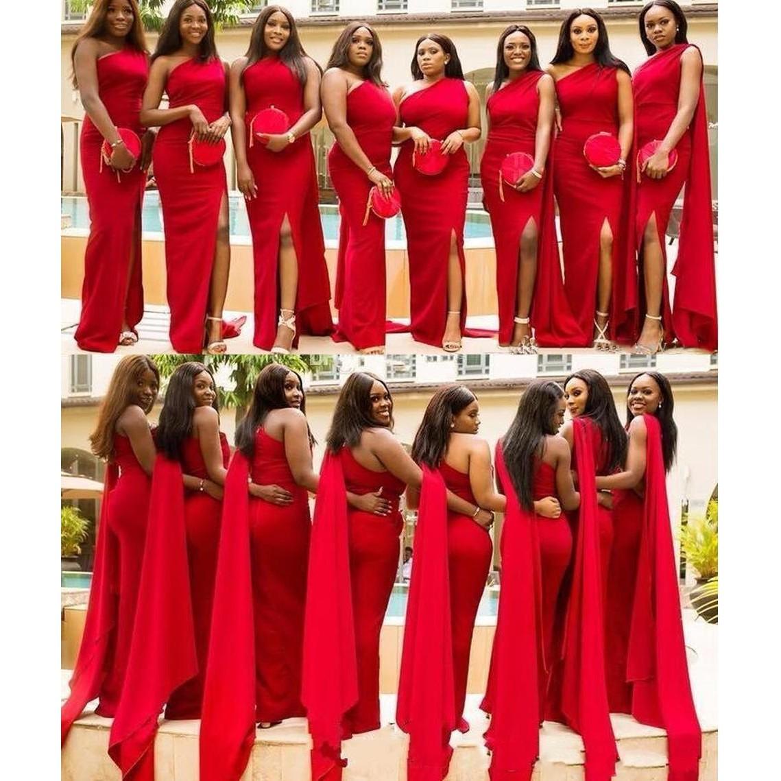 2019 arabisch günstige red mermaid brautjungfernkleider one shoulder side  split plus size lange hochzeitsgast kleid afrikanische trauzeugin kleider