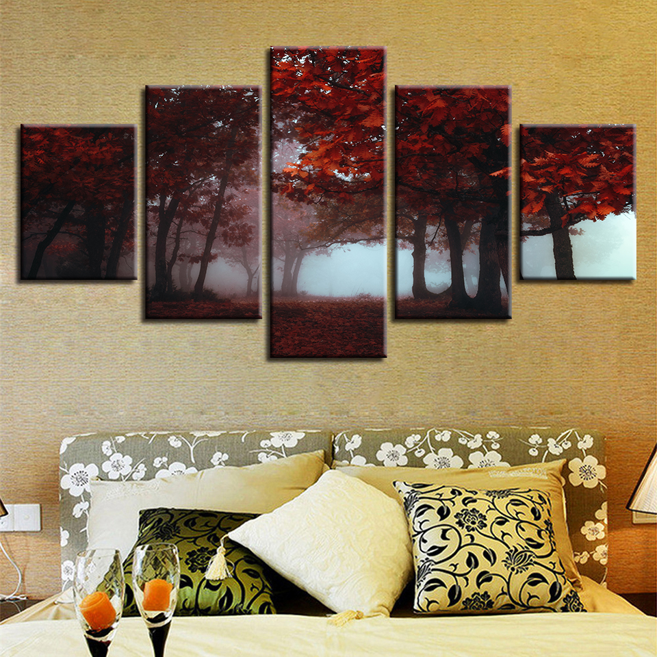 Canvas Printed Paintings Modular Red Forest Maple Leaf Trees Poster Living Room Scenery Pictures Framework Home Decoration