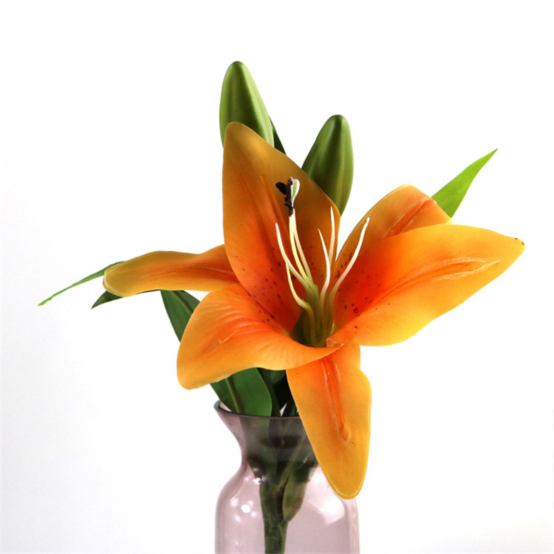 Artificial Flower Lily 3 heads Home Wedding Party Decor Silk Floral Decoration Bouquet 38CM Length
