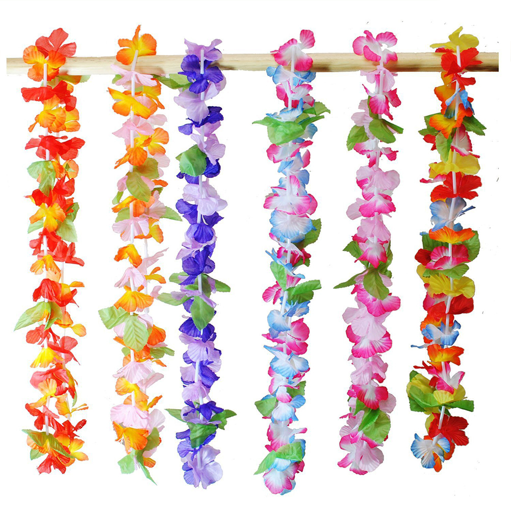 Hawaiian Artificial Leis Garland Necklace Fancy Dress Hawaii Beach Flowers Diy Party Decor random Color C19041901