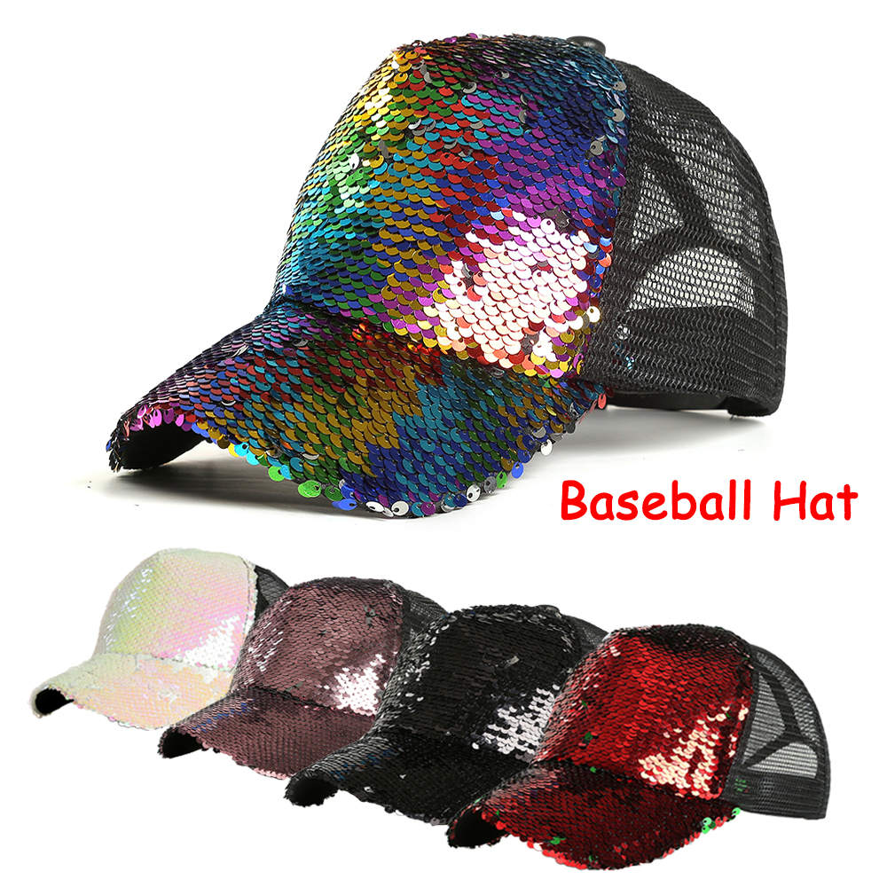 PRINCER Women Girl Ponytail Baseball Cap Sequins Shiny Messy Bun Snapback Hat Sun Caps Casual Fashion Party Sports Cycling Hiking Leisure Cap Sun Hat