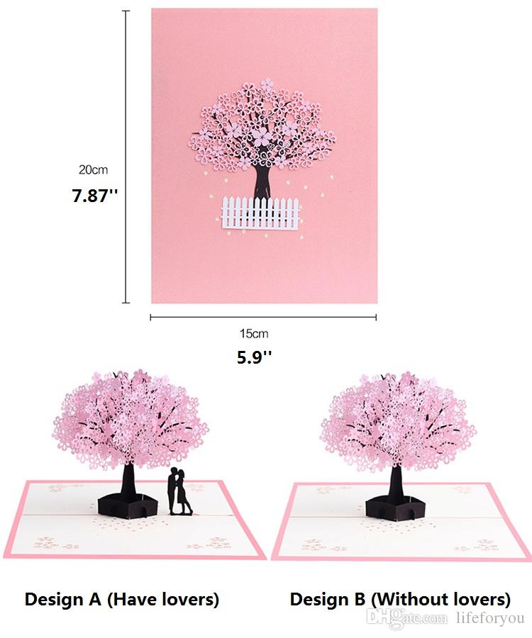 Cherry blossoms 3d greeting card romantic flower pop up greeting cards wedding congratulation cards pop up card for Valentine's Day