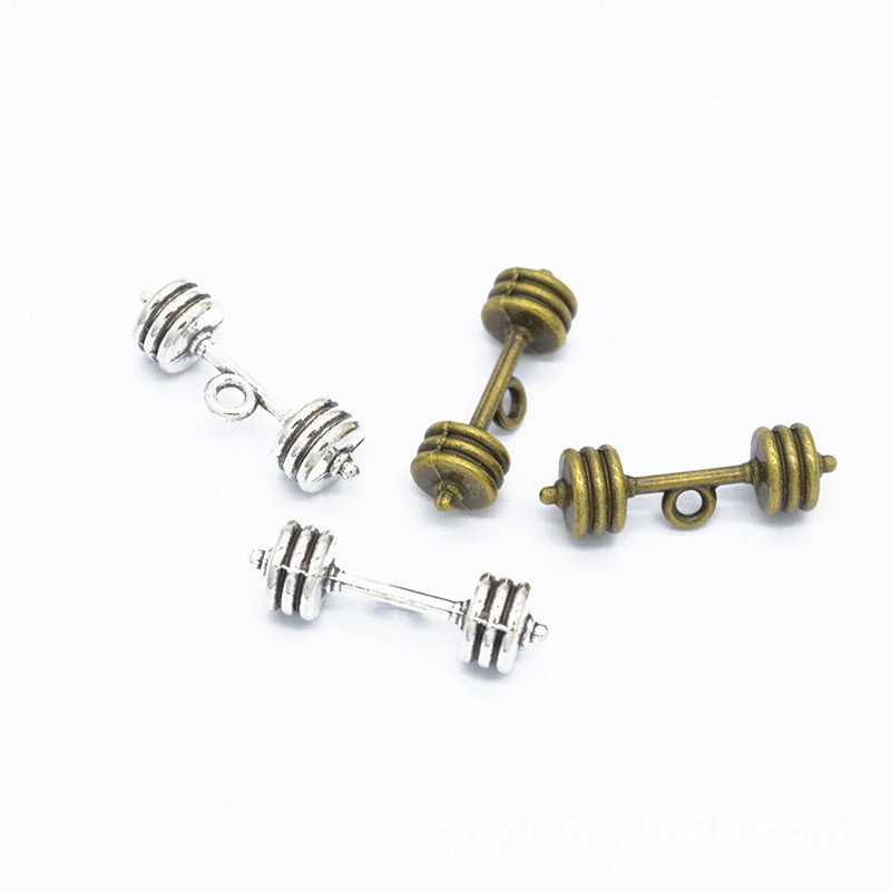 10Pcs Tibetan Silver fitness dumbbell Spacers Beads Jewelry Making 20x8mm