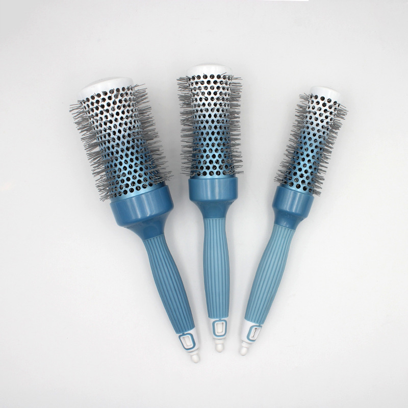 Dropshipping Creramic Roller Comb Fast Heating Nylon Teeth Hairbrush Thermal Blowing Round Comb with Tail Pin U1167