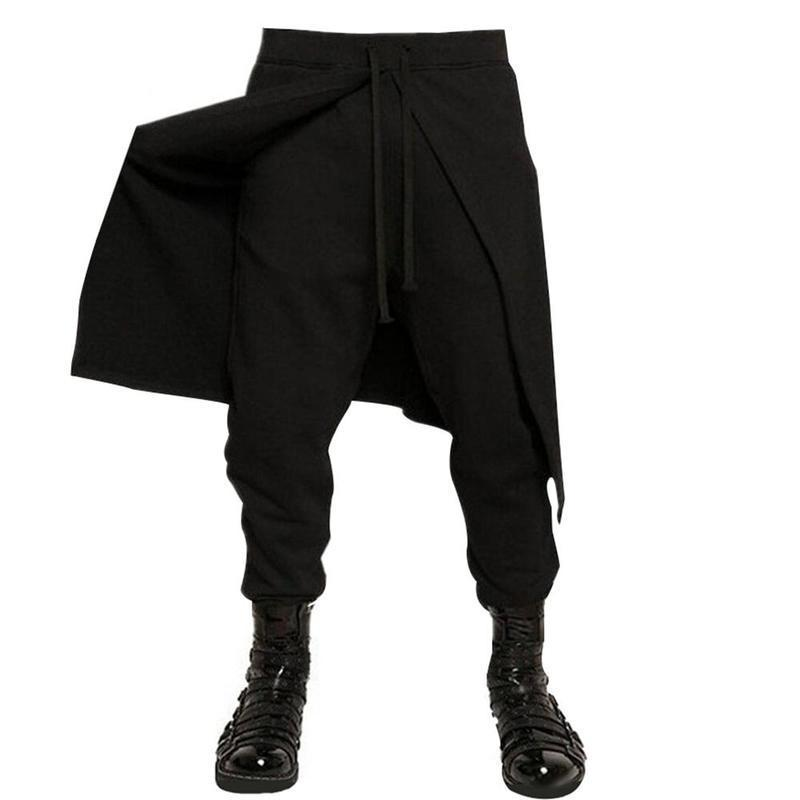 Huation Brand Cool Mens Gothic Punk Style Harem Pants Black Hip Hop Wear Skinny Dress Skirt Pants Trousers Fake Two Piece Y190415