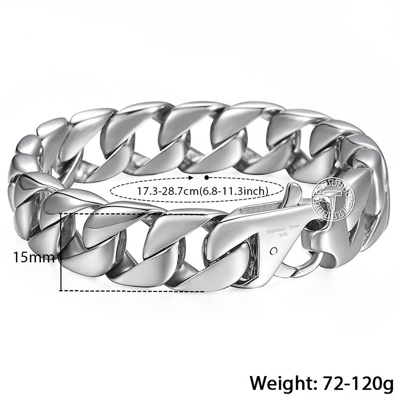 """14mm Men's Bracelet Silver 316l Stainless Steel Round Curb Cuban Link Chain Bracelets Male Jewelry Hot Gift For Men 8.62"""" Hb164 Y19051302"""