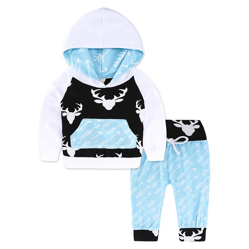 Infant Newborn Baby BOY Clothes cartoon Hooded Sweatshirt deer print Pants 2pcs Santa Outfit set autumn 2018 Baby girl Tracksuit
