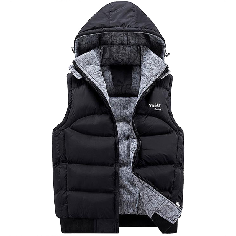 Mens Casual Warm Sleeveless Vests Cotton Hooded Jacket Male Zipper Waistcoat Thick Cotton Vest Hat Hooded Warm Tops