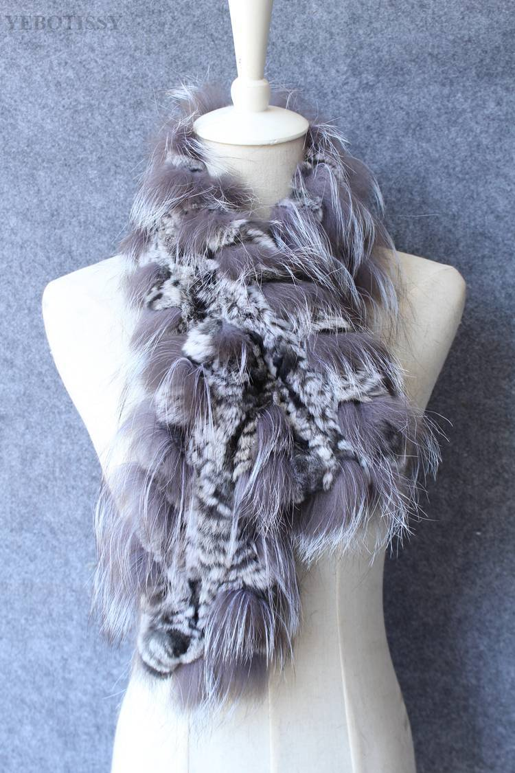 natural rex rabbit fur scarf silver fox fur (7)