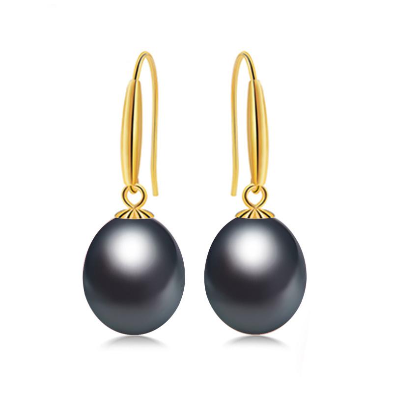 a70dab99d5bb ... Daimi 18 k oro gancho pendientes 8-9 mm pendientes de perlas de agua  dulce