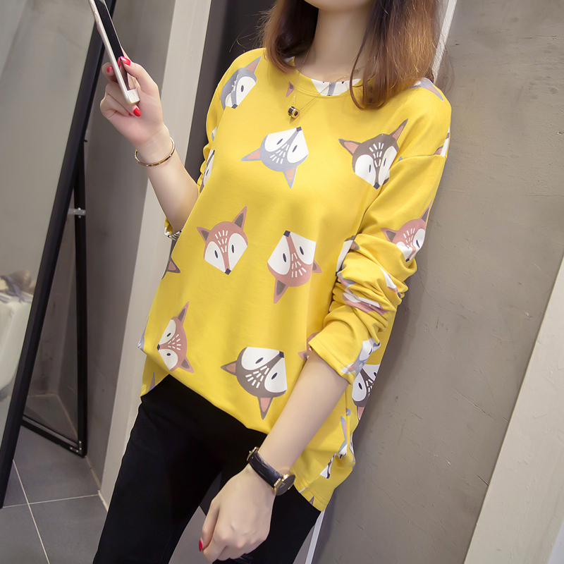 Nkandby Plus Size Round Neck Tshirt 2019 Spring Women Loose Long Sleeve Fox Print L-4xl Tops Cotton Oversize T Shirt Y19042101