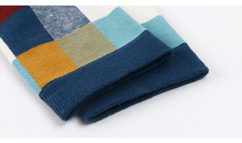 5PairLot Men\`S Socks Combed Cotton Autumn Winter Fashion Colorful Square Socks Men Harajuku Personality Breathable Crew Socks (10)