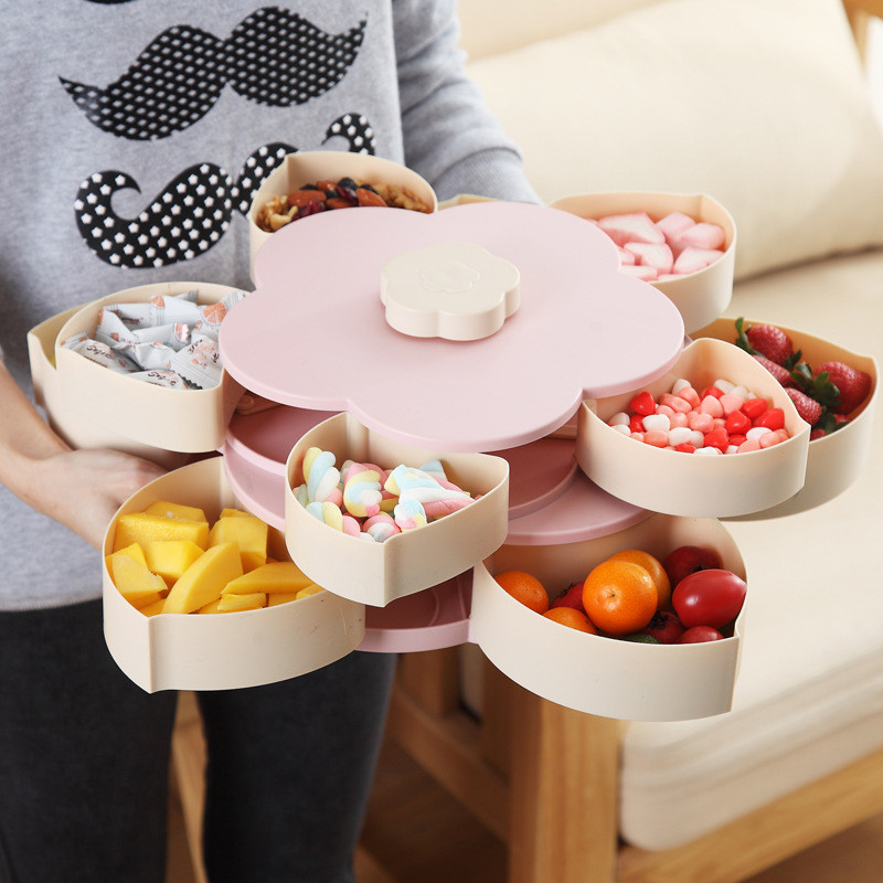 Tray Double Layer Carving Drain Serving Platter Snacks Fruits Storage Holder