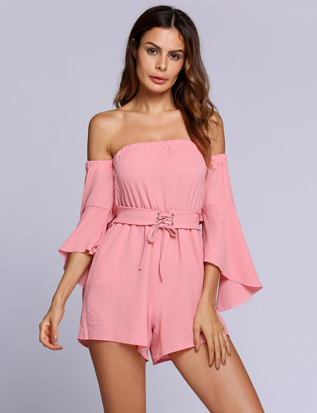 Fashion Off the Shoulder 3/4 Bell Sleeves Backless Solid Rompers Fashion Summer Rompers