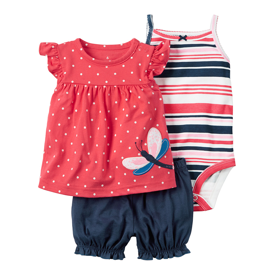 summer Baby girl clothes sleeveless dot T shirt tops+bodysuit+shorts clothing set newborn outfit 2019 new born suit cotton