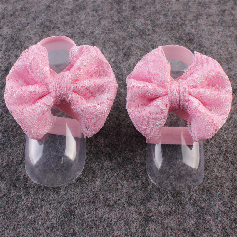 1Pair Fashion Baby Sandals Summer Beautiful Lace Barefoot Toddler Baby Foot Flower Anklet Baby Girl Sandals M8Y29#F (4)