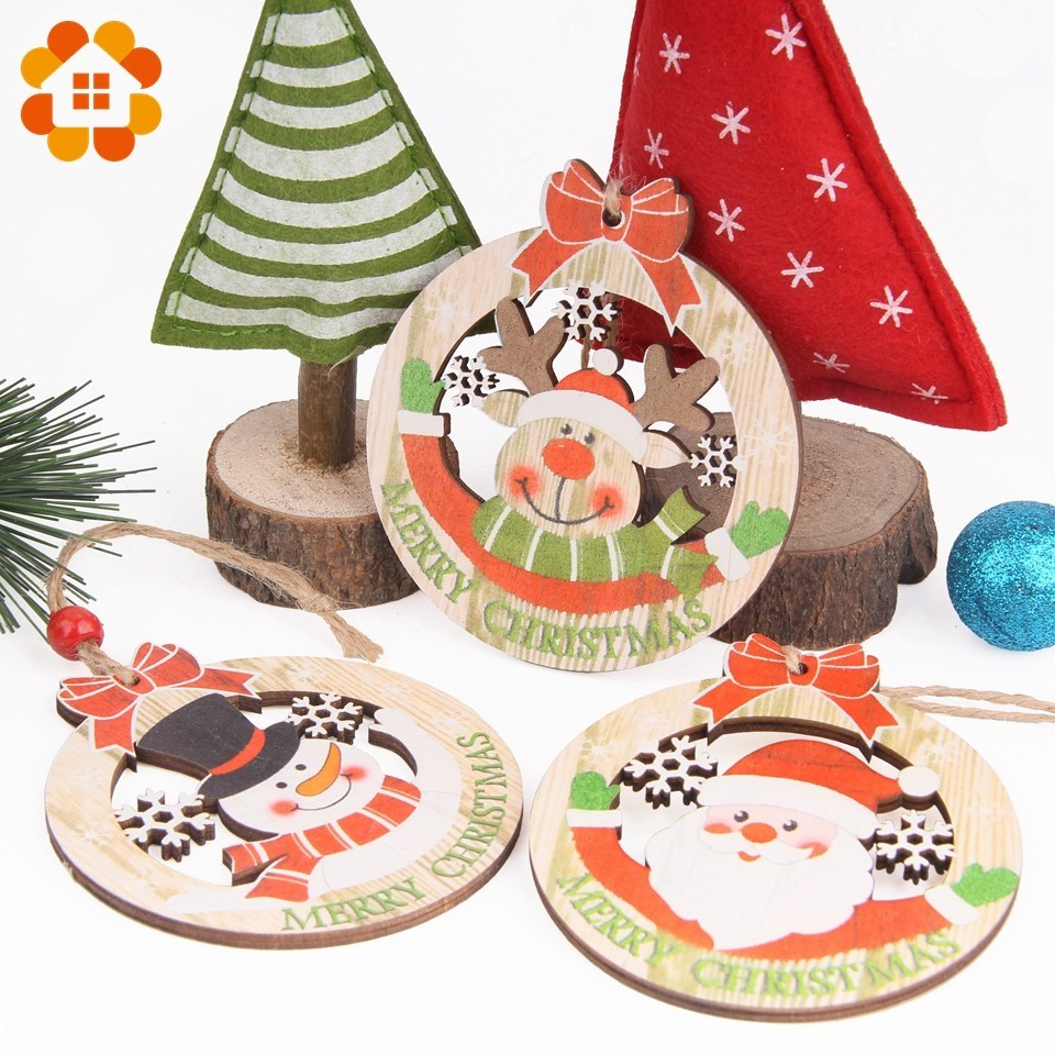 50Pcs Unfinished Natural Wood Slices Pieces Christmas Tree Ornaments DIY Craft