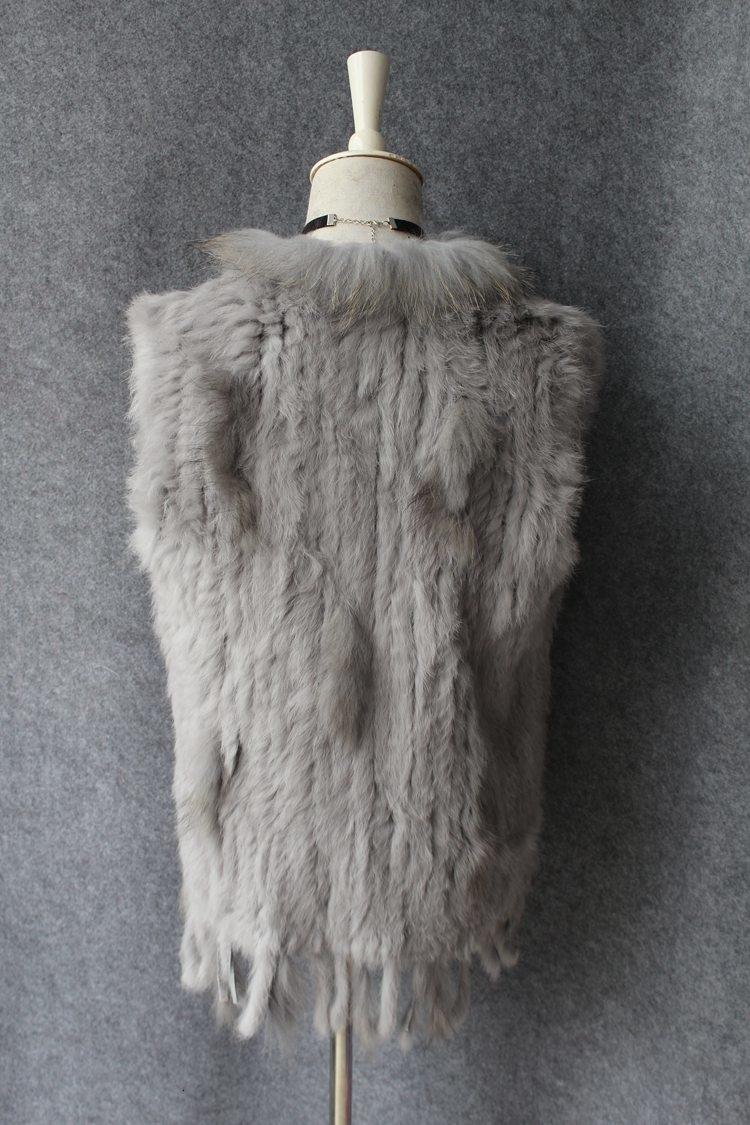 genuine real rabbit fur vest with raccoon fur collar (6)