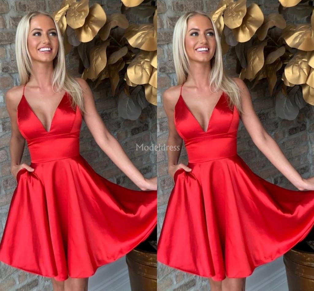 stilvolle rote abiballkleider mit tiefem v-ausschnitt a line plus  size-formale partei-abschlussball-kleid mit taschen moderne cocktail-kleid  hot