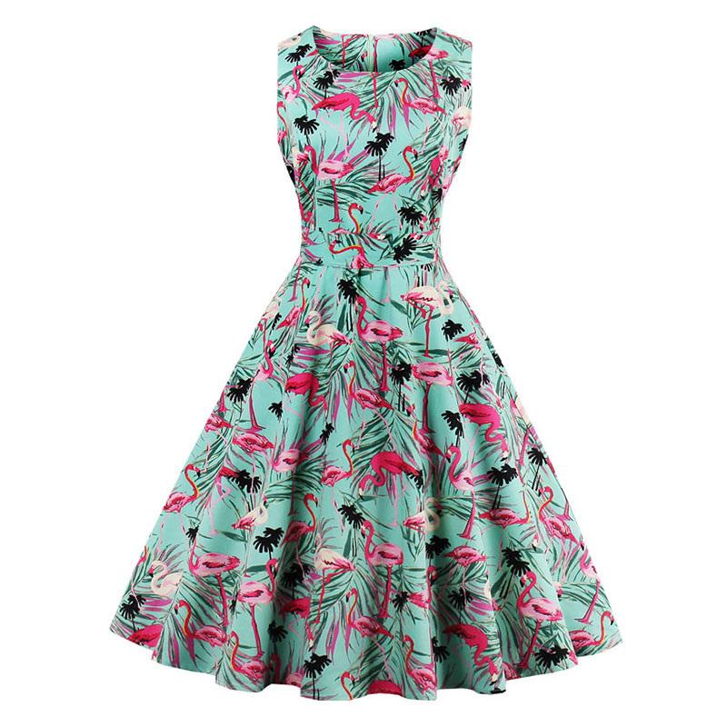 Kostlish 9 Style Print Summer Dress Women 2017 Sleeveless Swing 1950s Hepburn Vintage Tunic Dress Elegant Party Dresses Sundress (28)