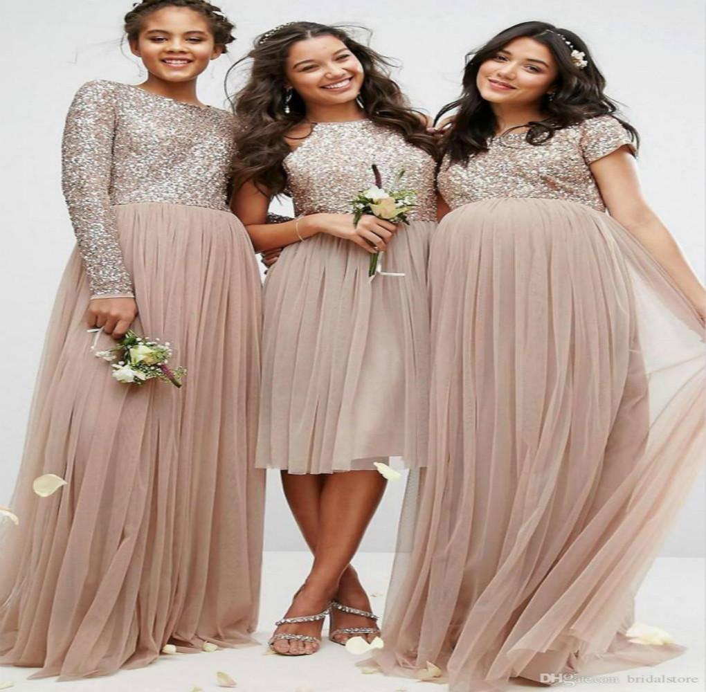 Designer Mismatched Champagne Pailletten Brautjungfernkleider Langarm Tüll  Günstige Plus Size Country Plissee Formale Abendkleid Für Schwangere