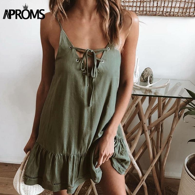 Aproms Elegant Lace Up V-neck Loose Cotton Dress Women Summer Sexy Low Back Green Mini Dresses Beach Sundresses Robe Femme 2019 MX190727