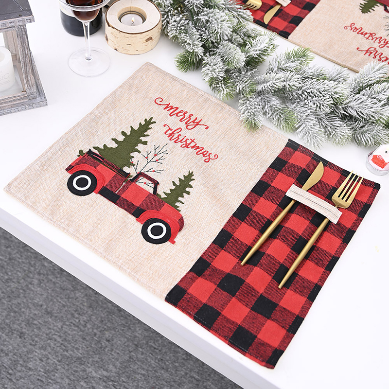 Red Back Lattice Christmas Placemat Cartoon Car Home Tablecloth Table Mat High Quality Christmas Festive Party Decorations