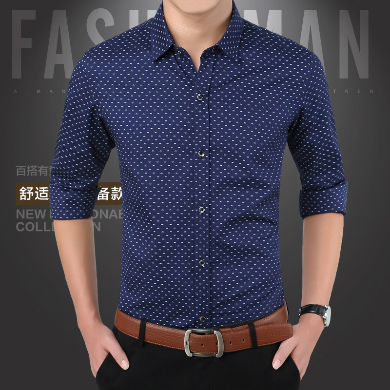 Brand 2018 Fashion Male Shirt Long-sleeves Tops Polka Dot Printing Mens Dress Shirts Slim Men Shirt Plus Size M-5xl Fgt Y190506