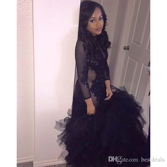 Long Sleeve Black Beading Prom Dress 2017 New Arrive Backless Sheer See Through Tulle Floor Length Mermaid Long African Prom Dresses