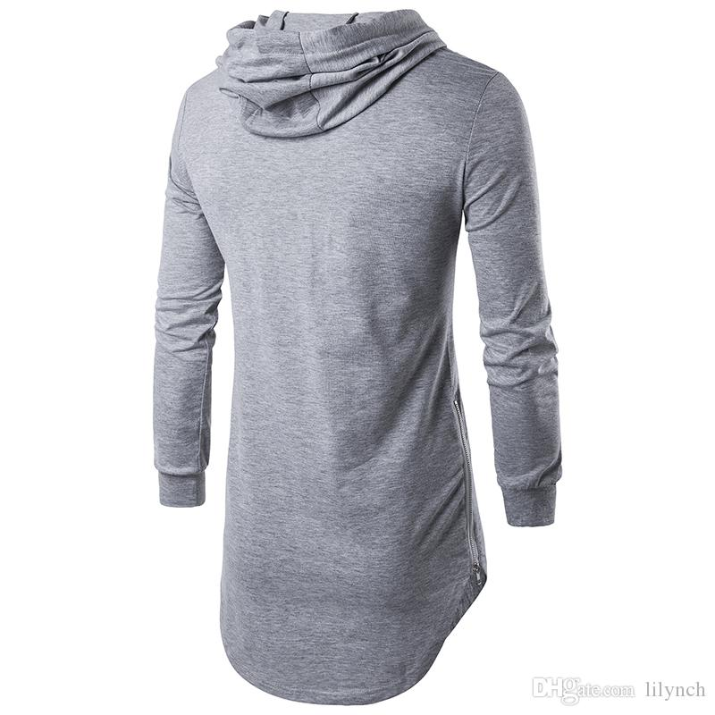 Tops tees Hot sell 2017 hooded zipper long section autumn men's T-shirt men's long sleeve T-shirt fashion round neck men's casual T-shirt