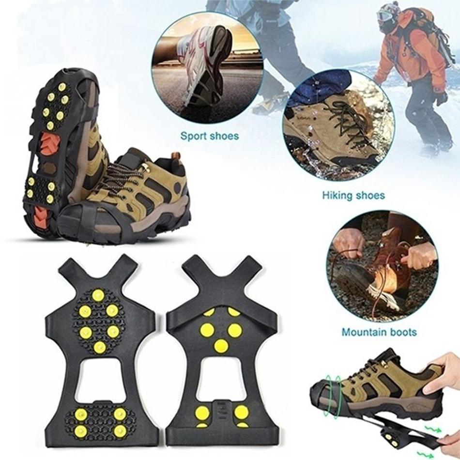 L 10 Z/ähne Universal Crampon Anti Slip Eis Klampen Schuhstiefel Griffe Traktion Steigeisen Snow Spikes Griffe Stollen M/änner Frauen Walking Jogging Wandern und Bergsteigen