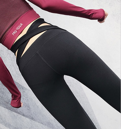 Brand Woman Bodybuilding Seven Part Pants The Waist Crossing Elastic Force Motion In Pants Jump Do Dance Sports Pants